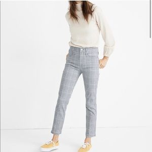 MADEWELL STOVEPIPE PLAID DENIM JEANS